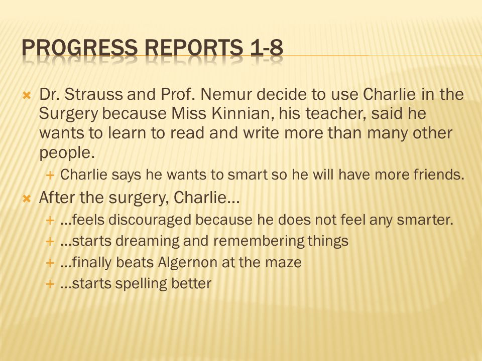Progress reports 1-8