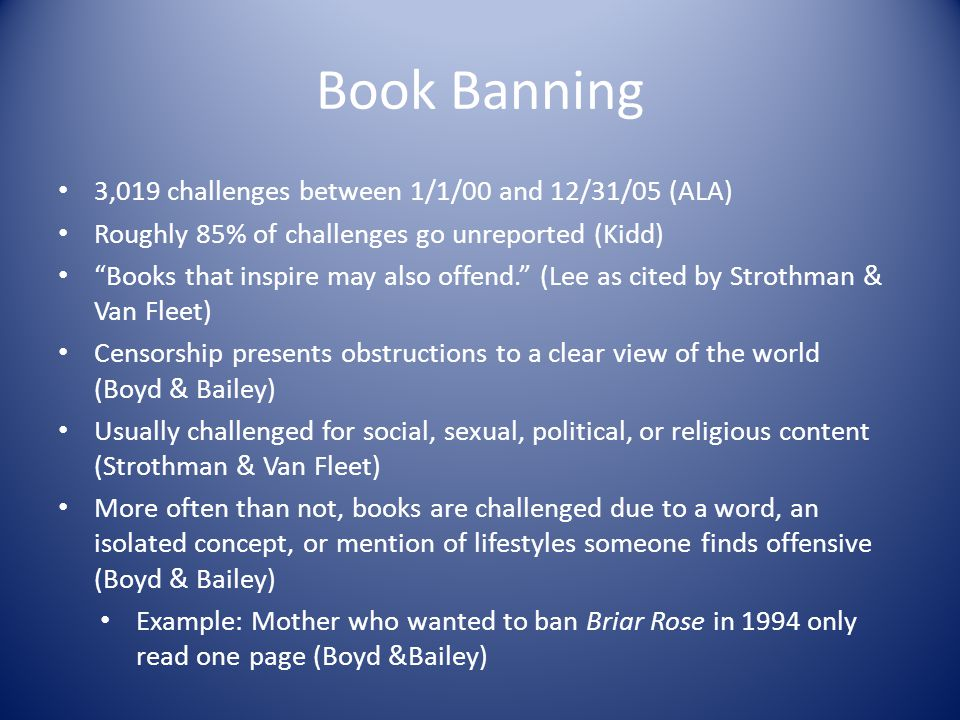 Book Banning 3,019 challenges between 1/1/00 and 12/31/05 (ALA)