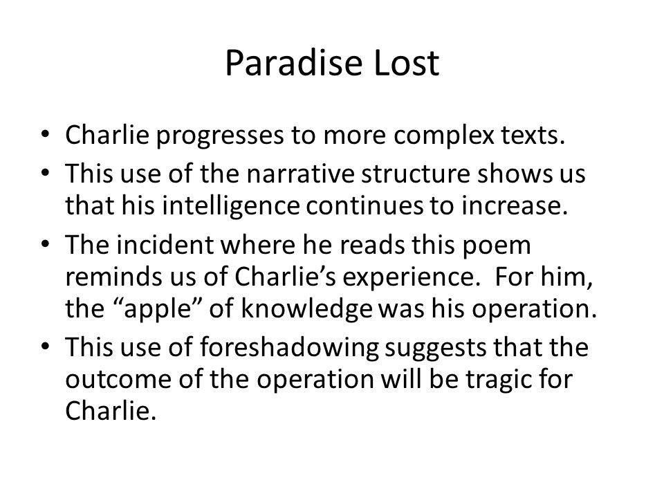 Paradise Lost Charlie progresses to more complex texts.