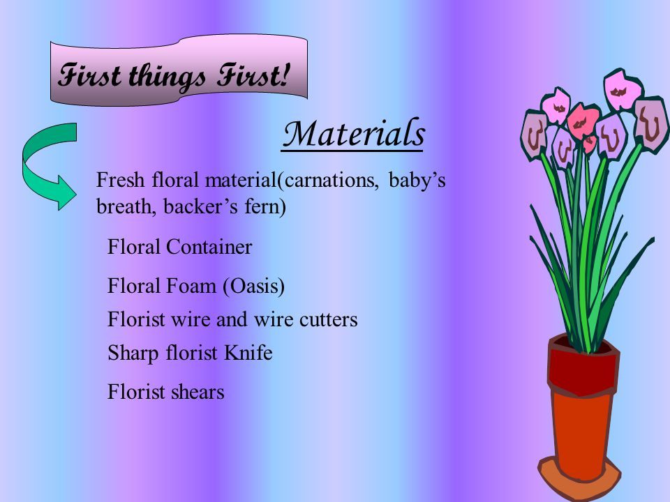 Materials First things First!