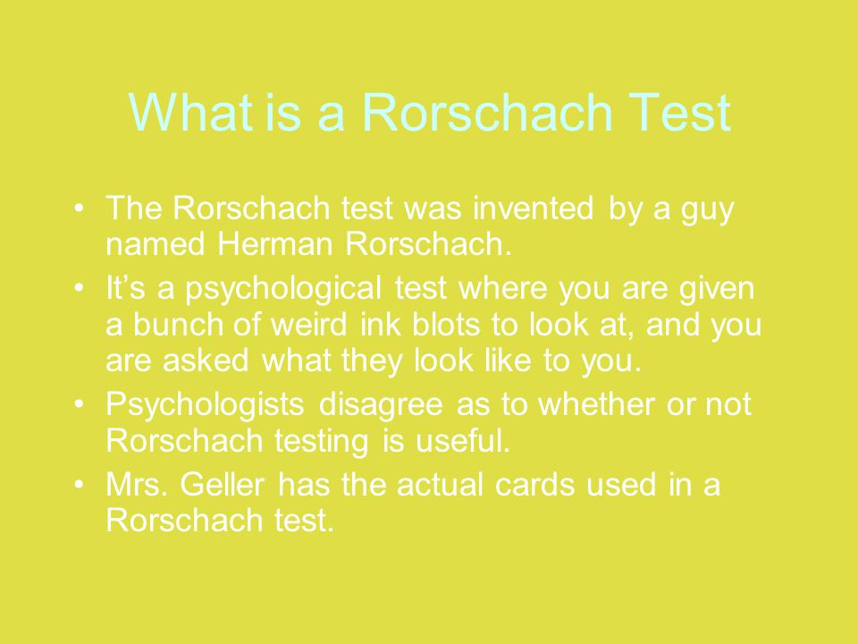 What is a Rorschach Test