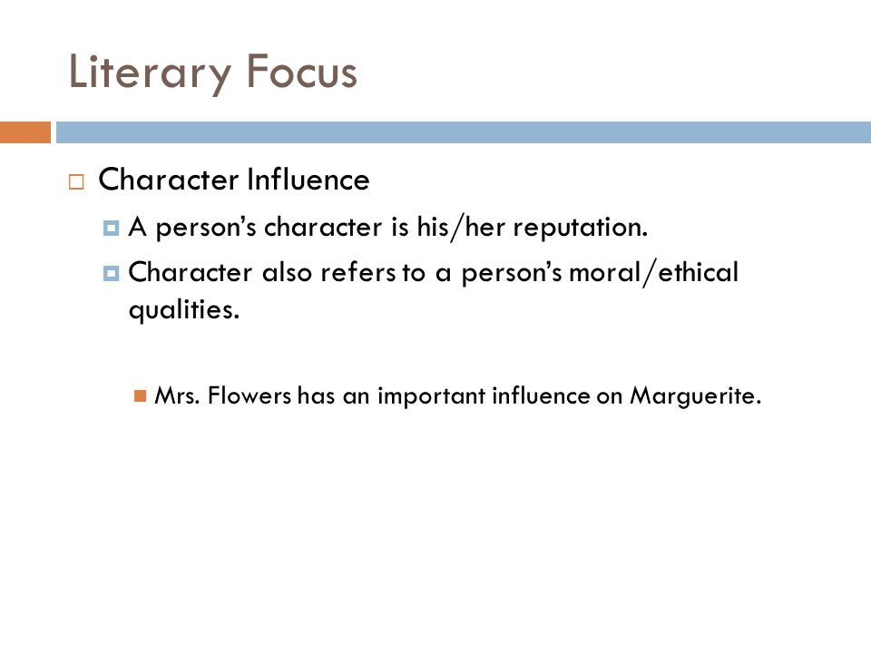 Literary Focus Character Influence