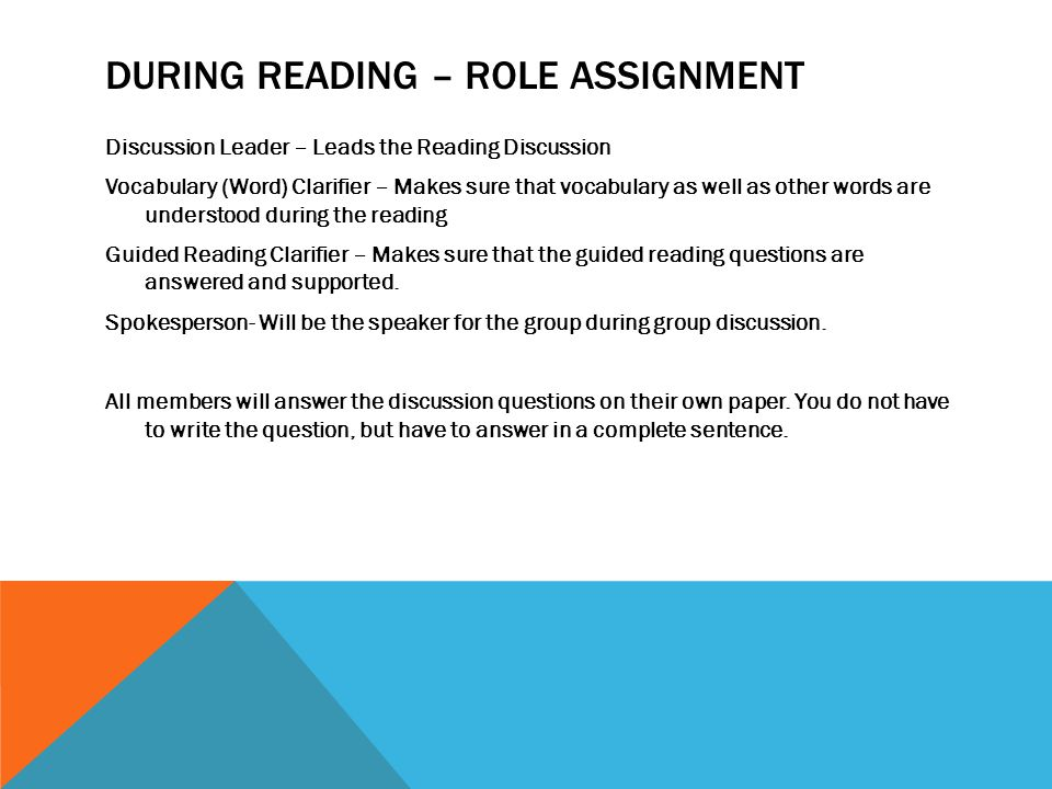During Reading – Role Assignment