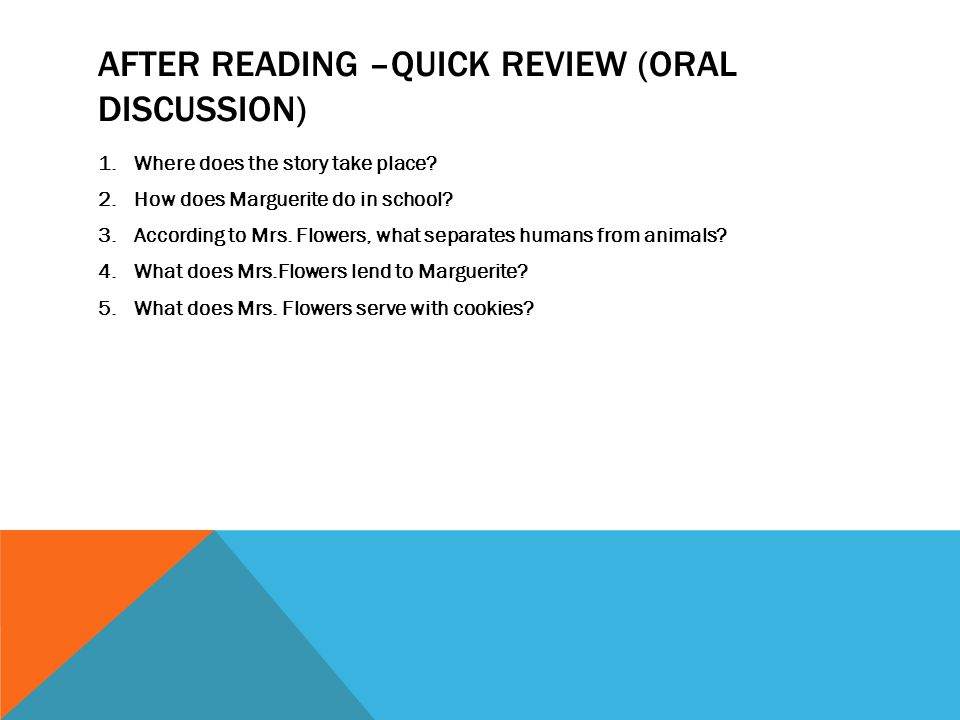 After Reading –Quick Review (oral Discussion)