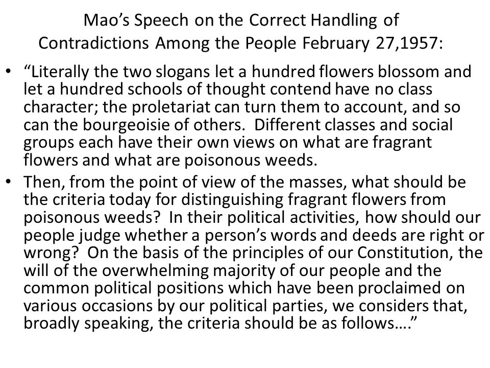 Mao's Speech on the Correct Handling of Contradictions Among the People February 27,1957: