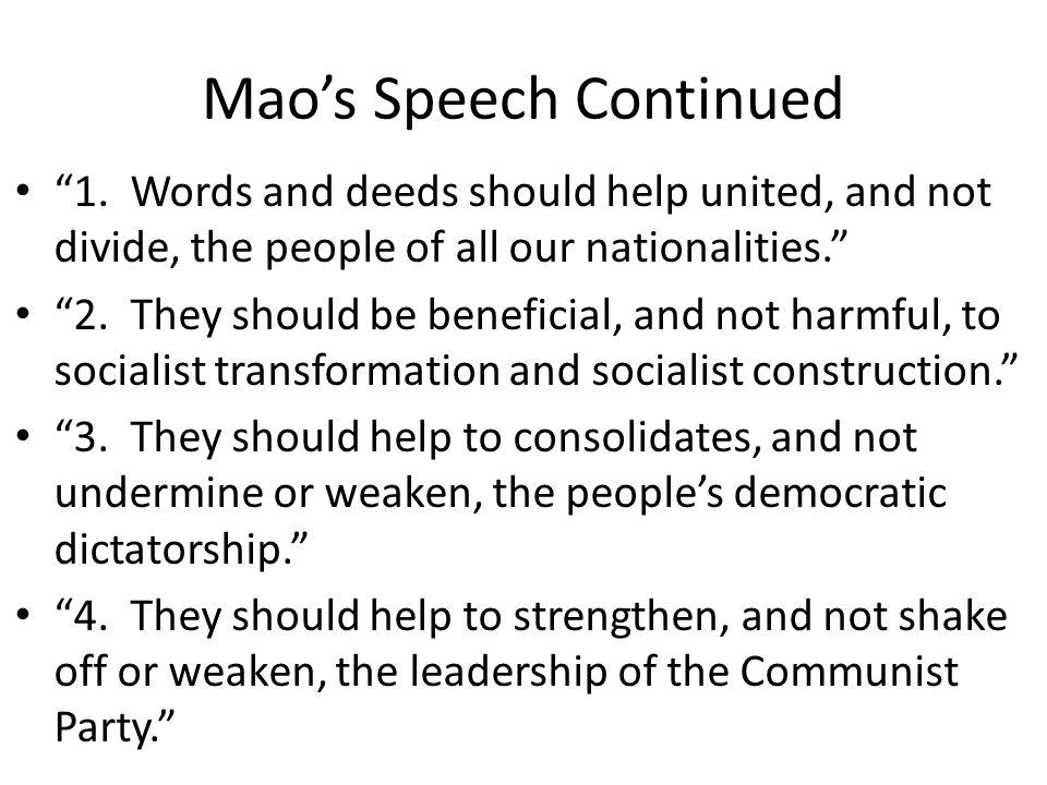 Mao's Speech Continued