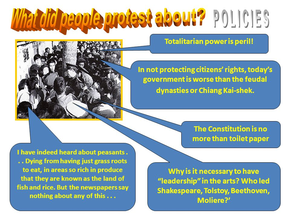 What did people protest about POLICIES