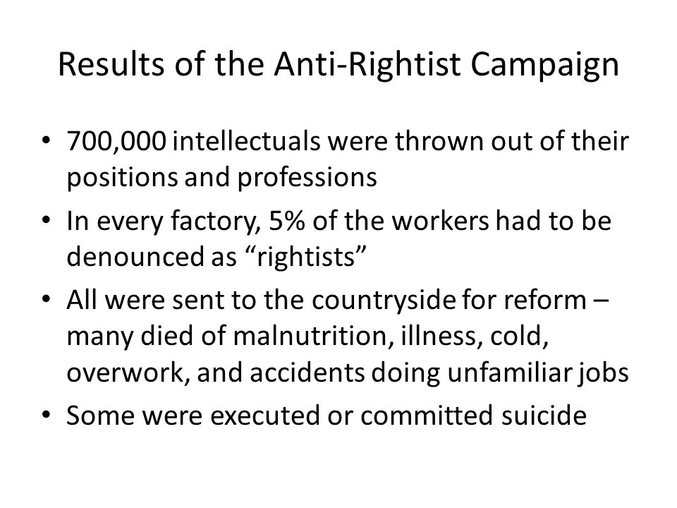 Results of the Anti-Rightist Campaign