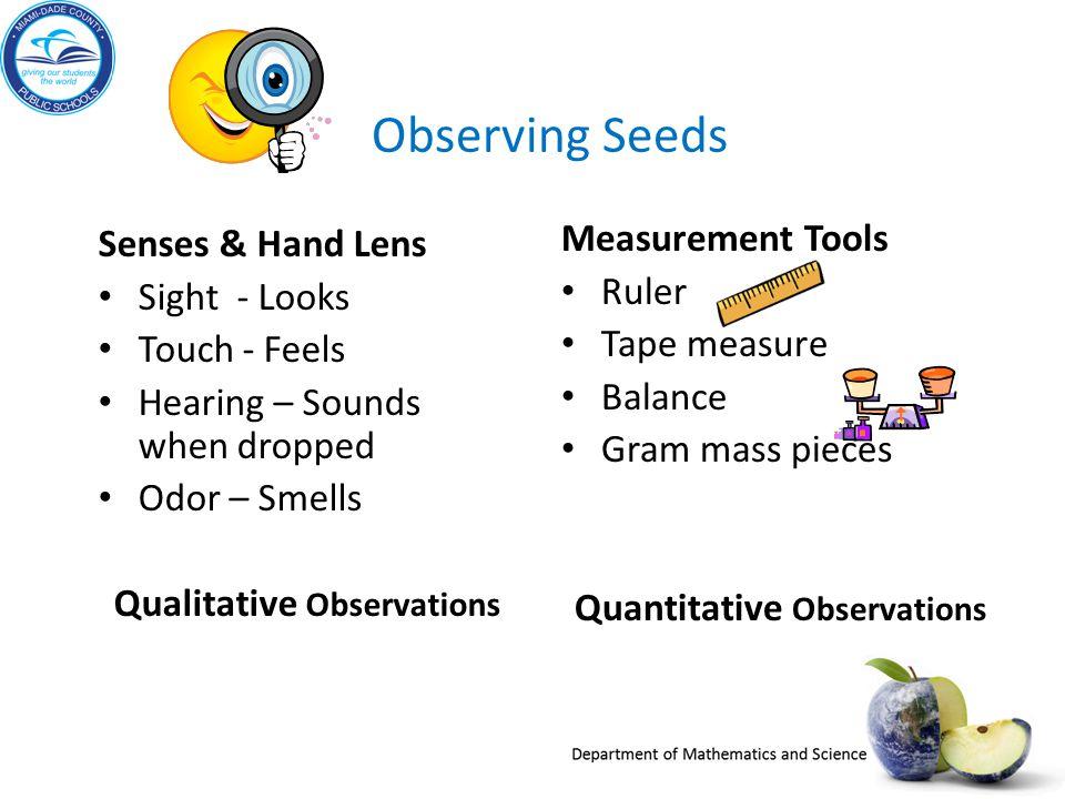 Qualitative Observations Quantitative Observations