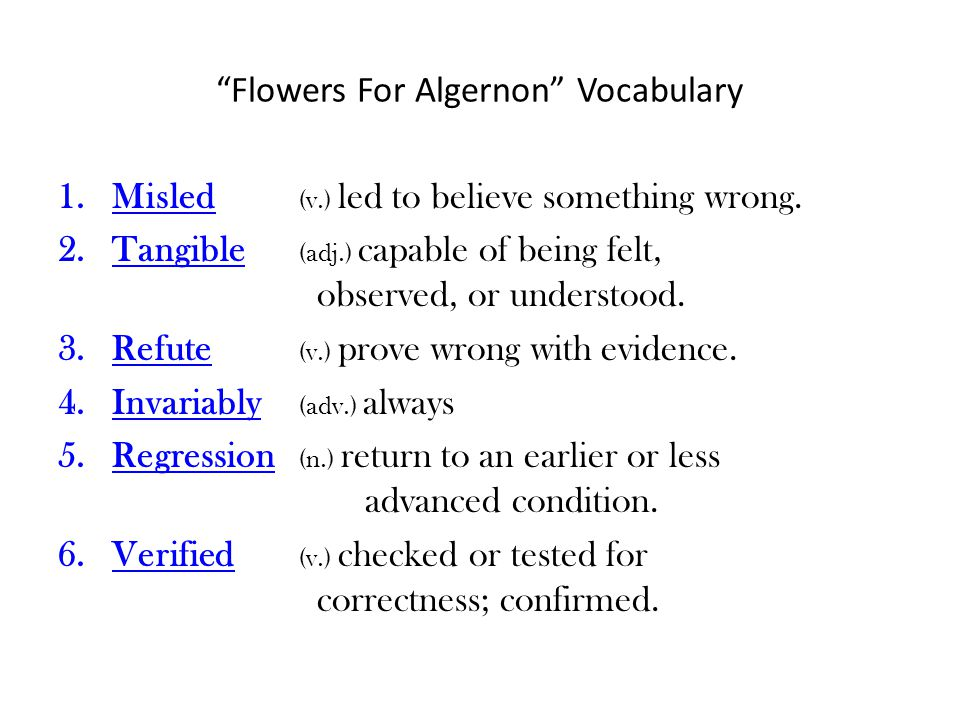 Flowers For Algernon Vocabulary