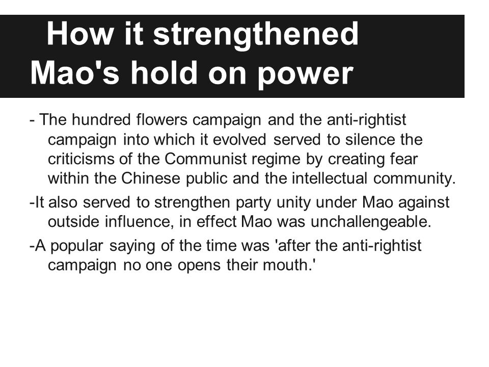 How it strengthened Mao s hold on power