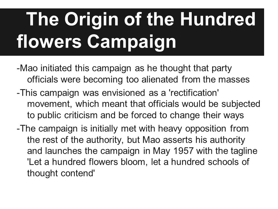 The Origin of the Hundred flowers Campaign