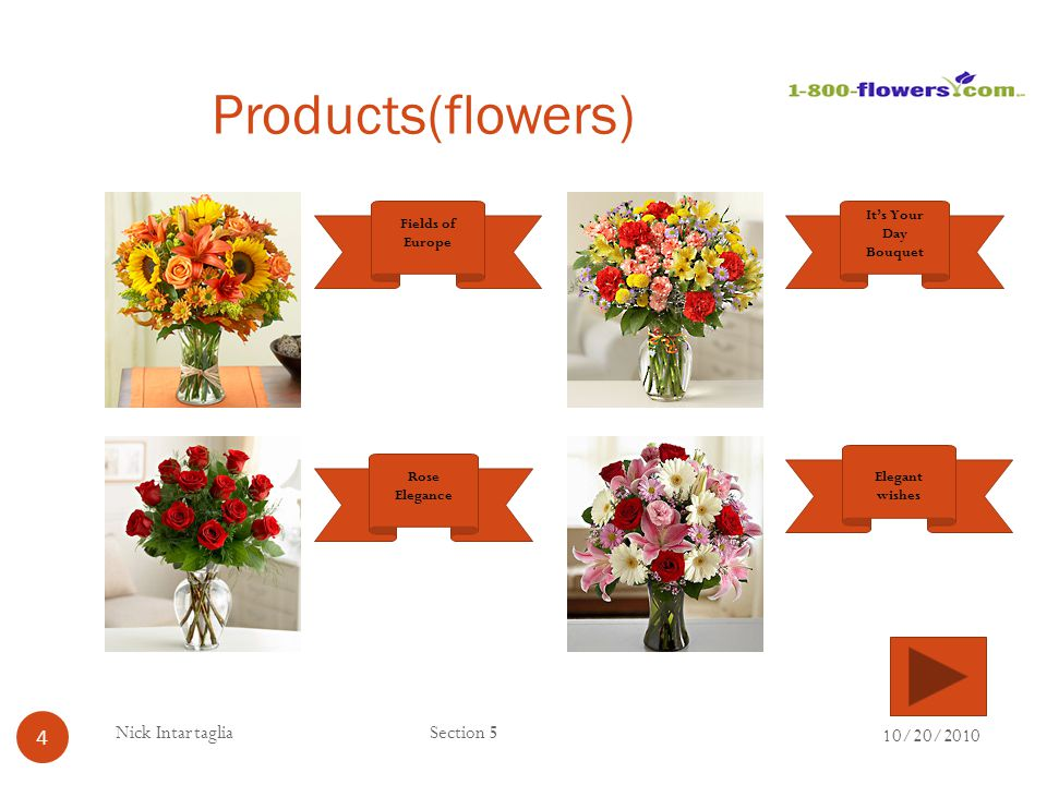 Products(flowers) Nick Intartaglia Section 5 10/20/2010