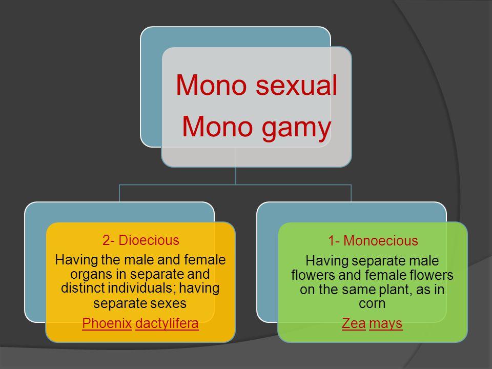 Mono sexual Mono gamy 2- Dioecious 1- Monoecious
