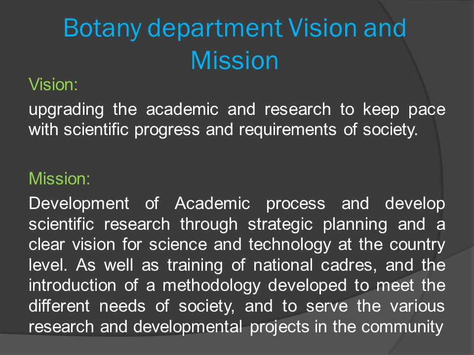 Botany department Vision and Mission