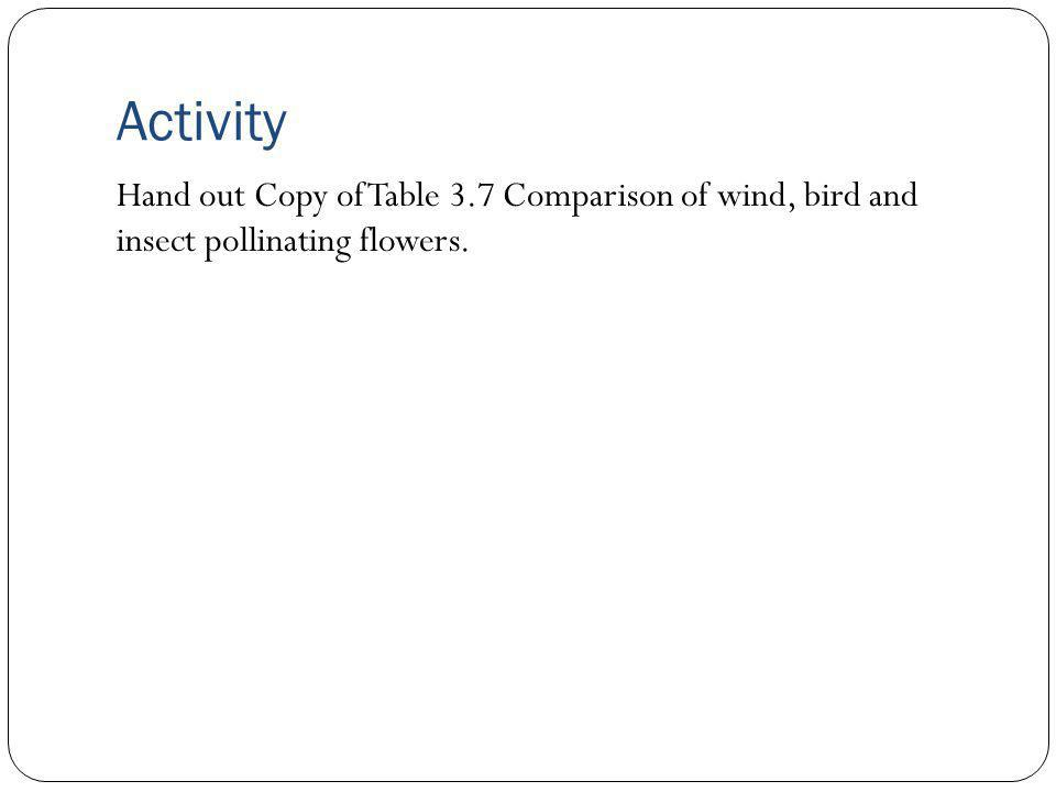Activity Hand out Copy of Table 3.7 Comparison of wind, bird and insect pollinating flowers.