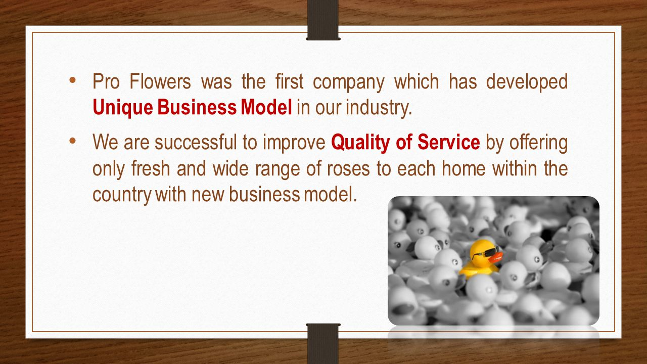 Pro Flowers was the first company which has developed Unique Business Model in our industry.
