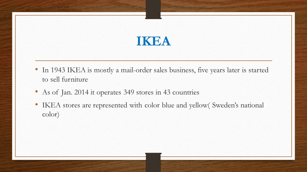IKEA In 1943 IKEA is mostly a mail-order sales business, five years later is started to sell furniture.