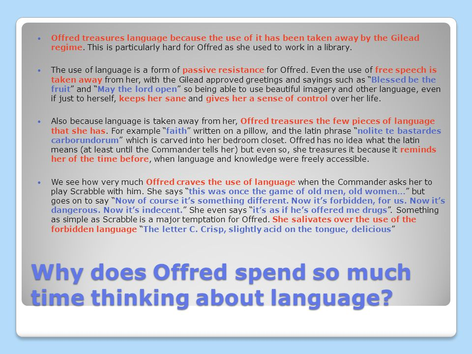 Why does Offred spend so much time thinking about language