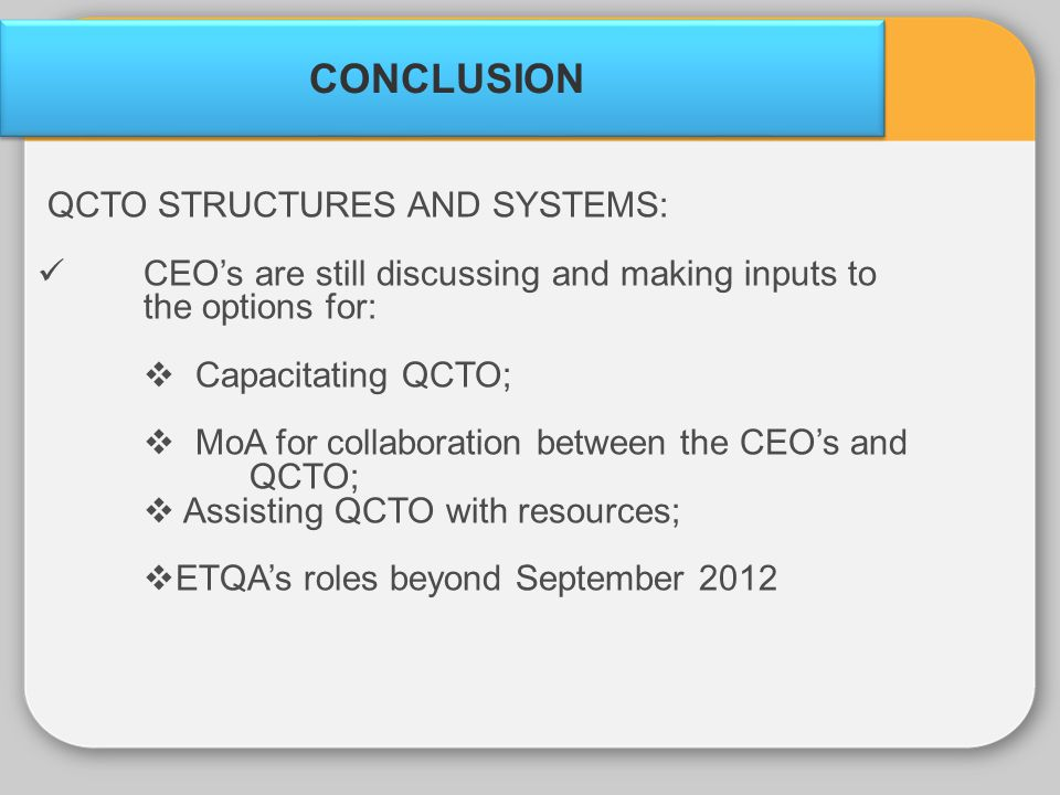CONCLUSION QCTO STRUCTURES AND SYSTEMS: