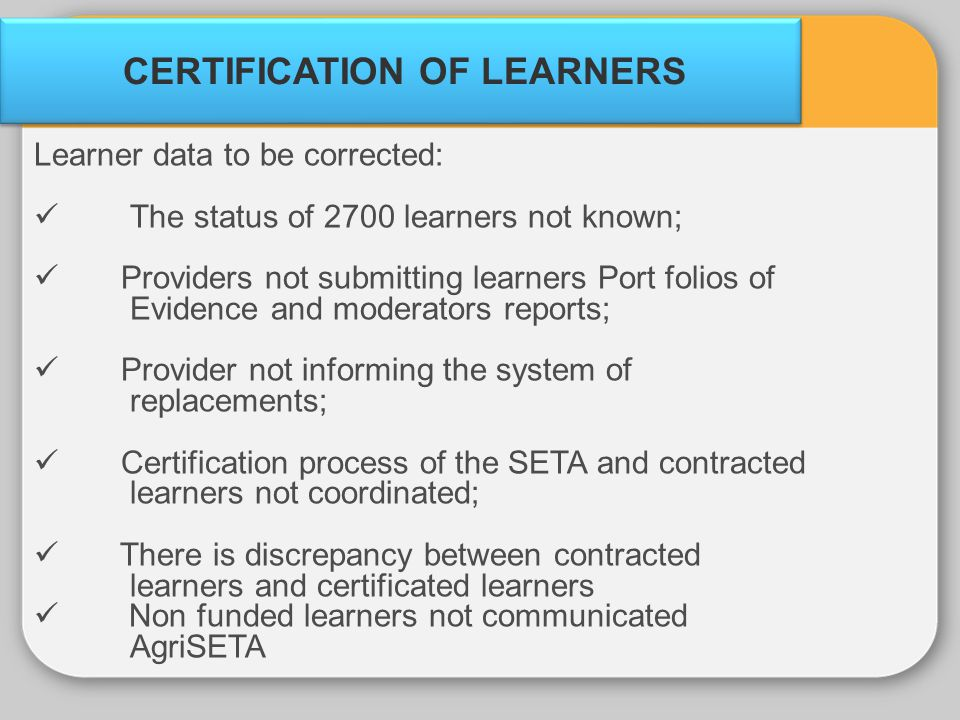 CERTIFICATION OF LEARNERS