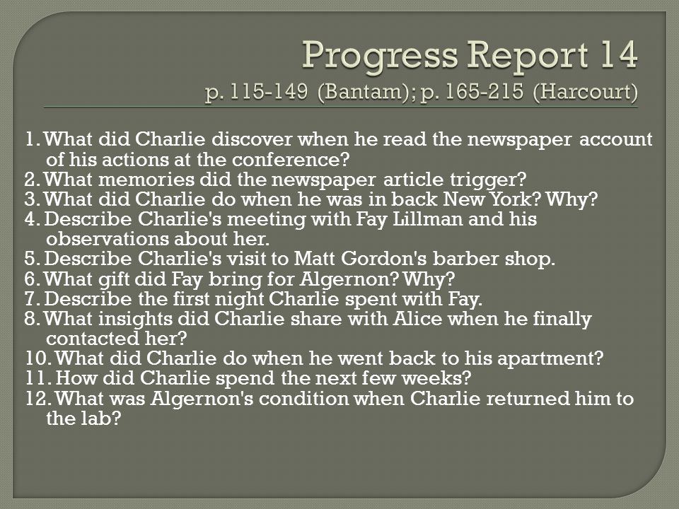 Progress Report 14 p (Bantam); p (Harcourt)