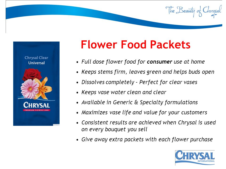 Flower Food Packets Full dose flower food for consumer use at home