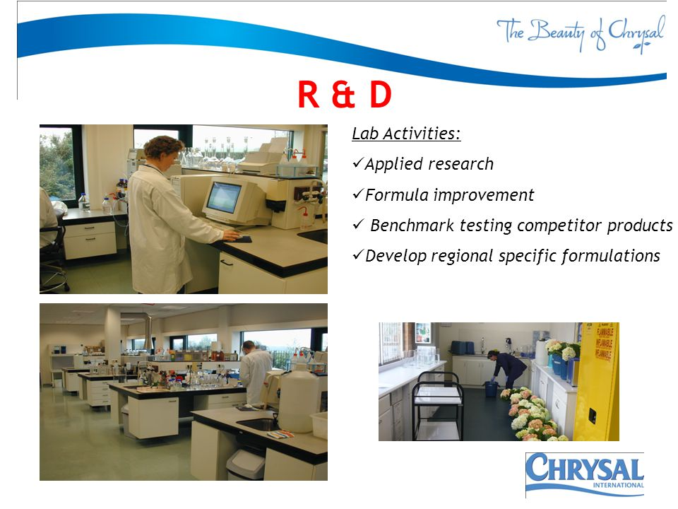 R & D 5 Lab Activities: Applied research Formula improvement