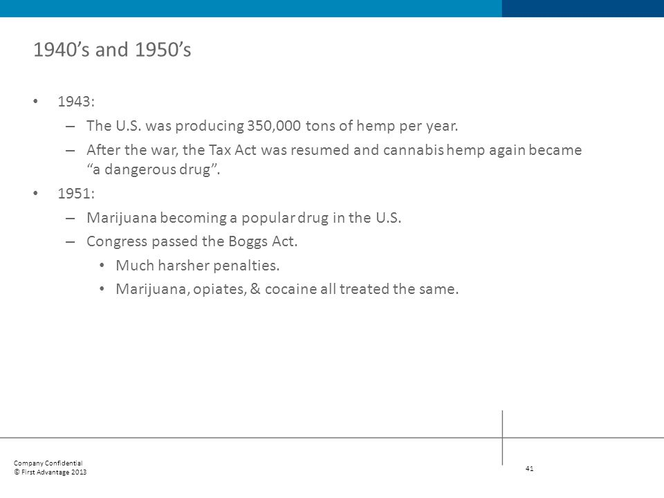 1940's and 1950's 1943: The U.S. was producing 350,000 tons of hemp per year.