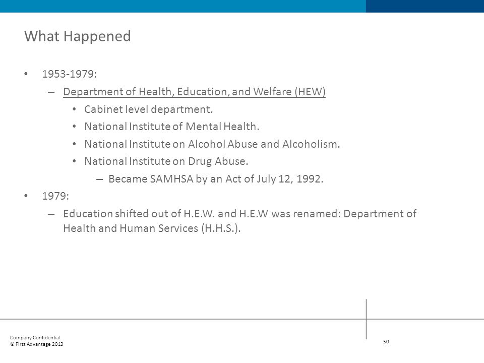 What Happened 1953-1979: Department of Health, Education, and Welfare (HEW) Cabinet level department.