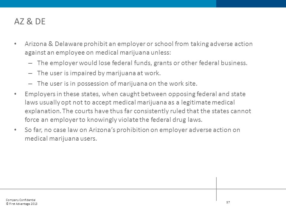AZ & DE Arizona & Delaware prohibit an employer or school from taking adverse action against an employee on medical marijuana unless: