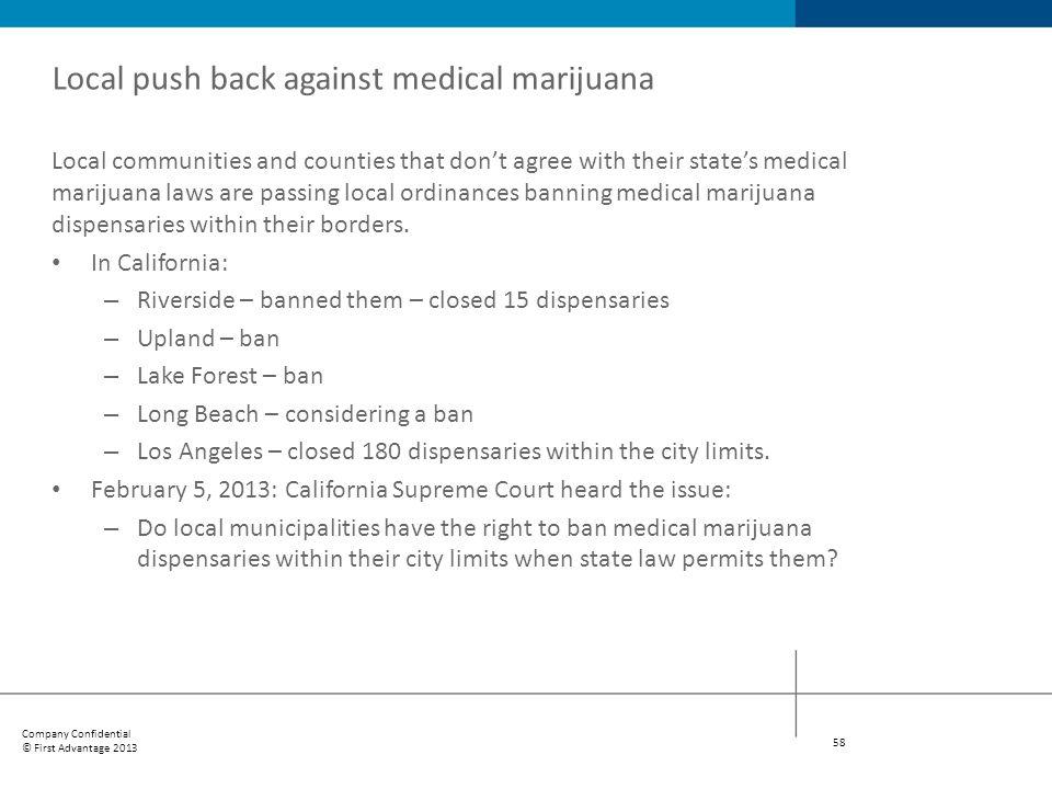 Local push back against medical marijuana