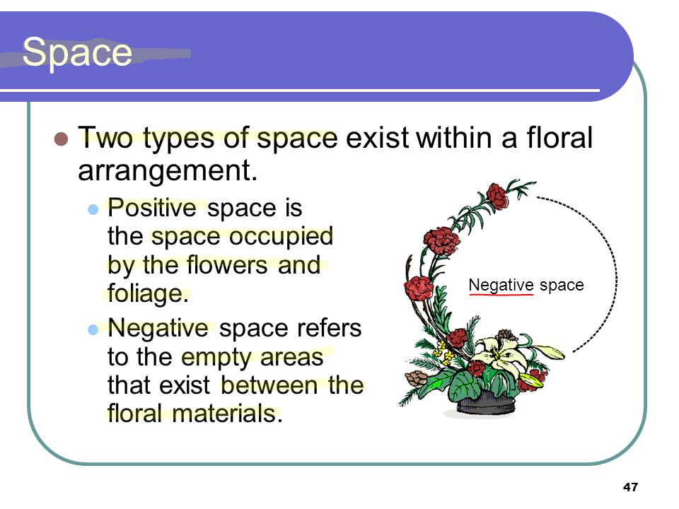 Space Two types of space exist within a floral arrangement.