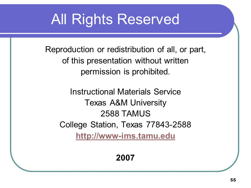 All Rights Reserved Reproduction or redistribution of all, or part,