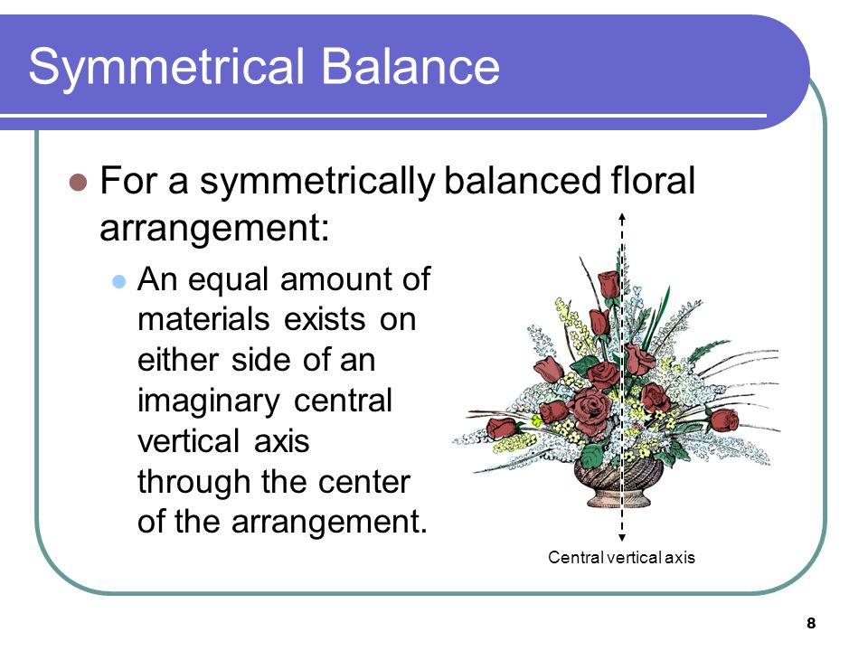 Symmetrical Balance For a symmetrically balanced floral arrangement: