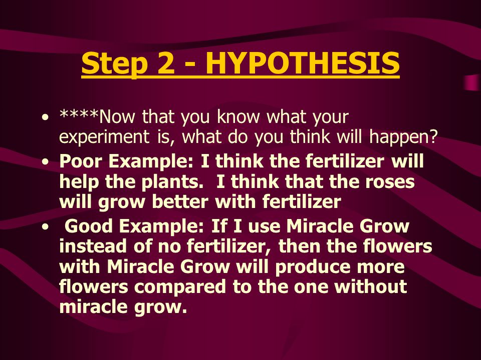 Step 2 - HYPOTHESIS ****Now that you know what your experiment is, what do you think will happen
