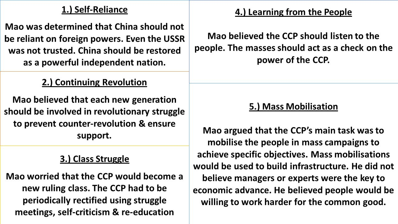 4.) Learning from the People 2.) Continuing Revolution