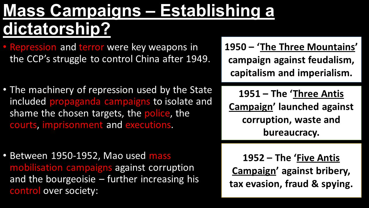 Mass Campaigns – Establishing a dictatorship