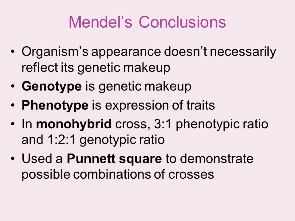 Mendel's Conclusions Organism's appearance doesn't necessarily reflect its genetic makeup. Genotype is genetic makeup.