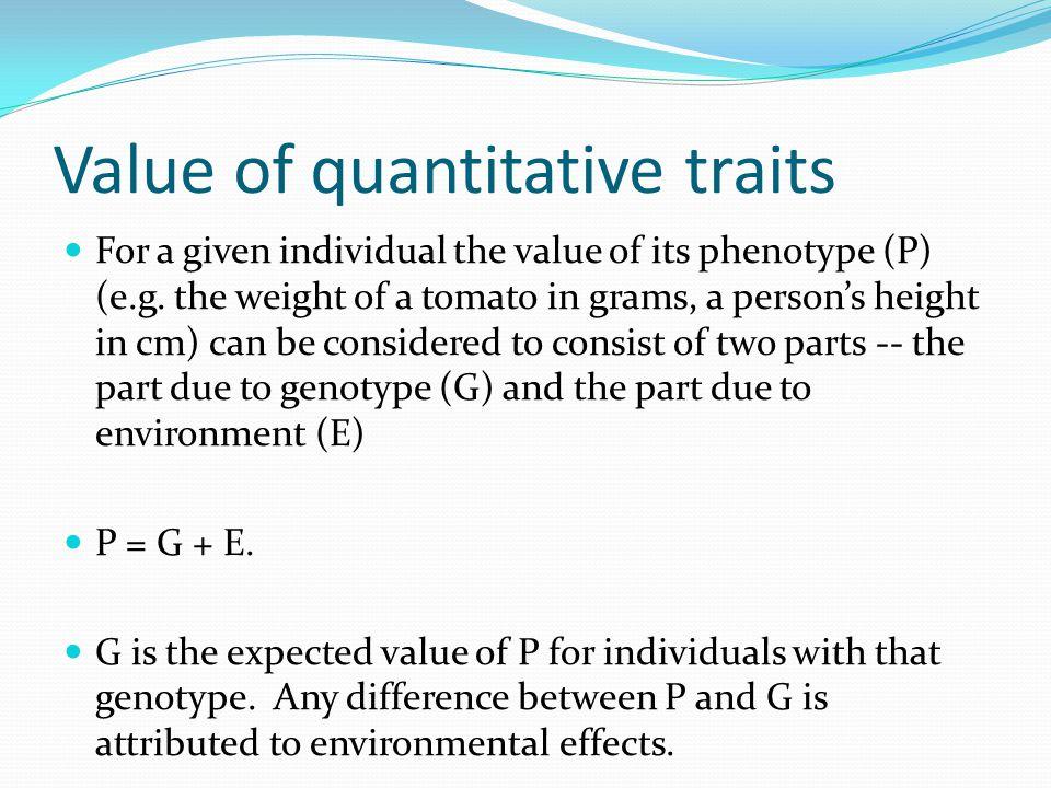 Value of quantitative traits