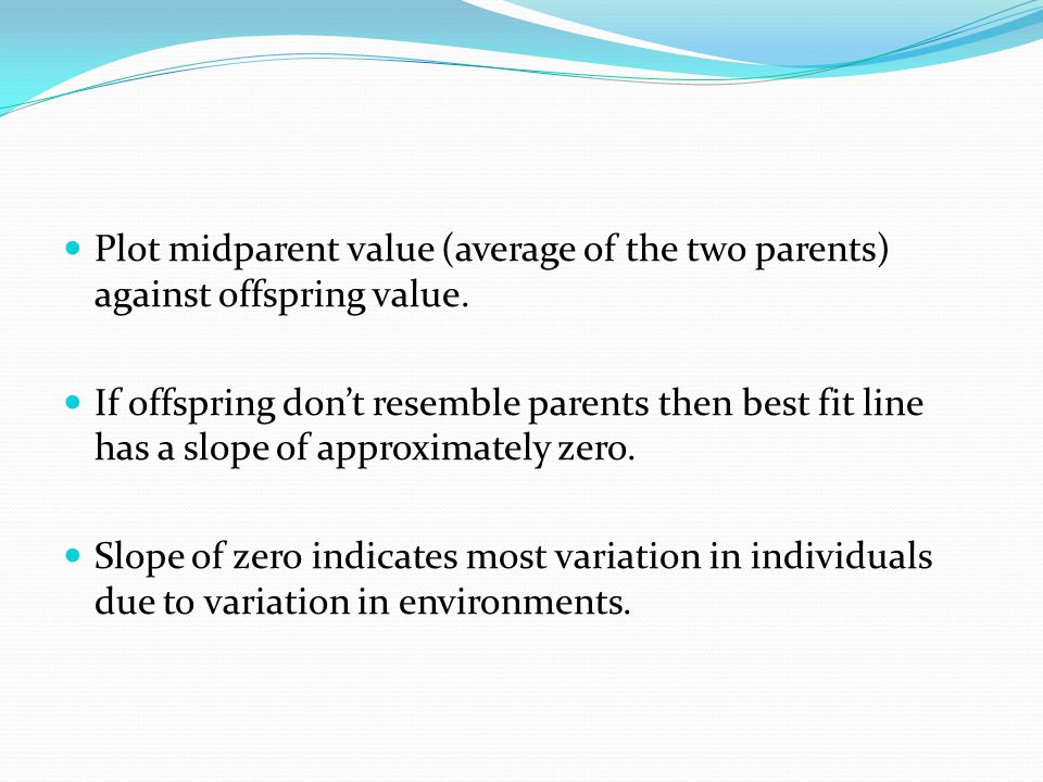Plot midparent value (average of the two parents) against offspring value.