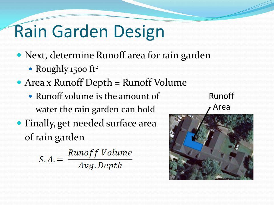 Rain Garden Design Next, determine Runoff area for rain garden