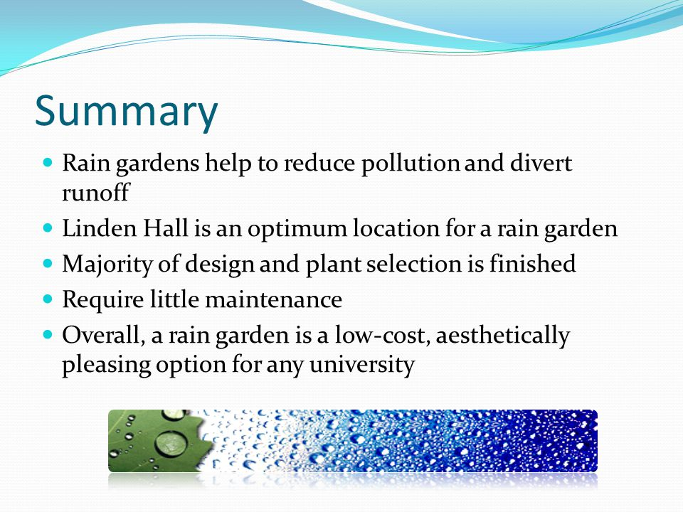 Summary Rain gardens help to reduce pollution and divert runoff