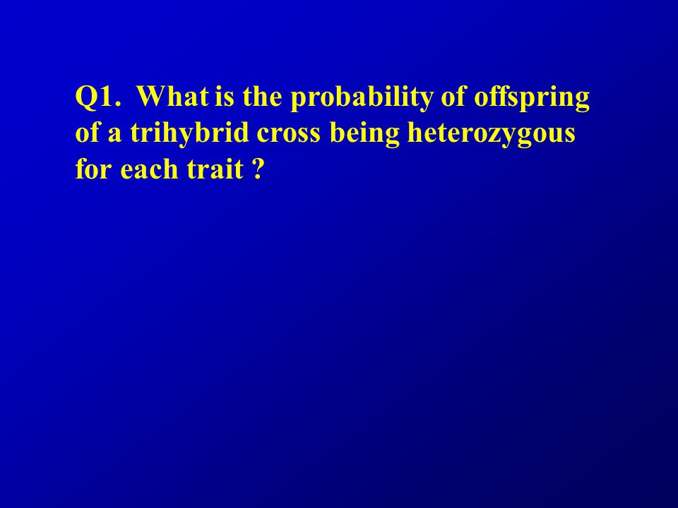 Q1. What is the probability of offspring of a trihybrid cross being heterozygous for each trait