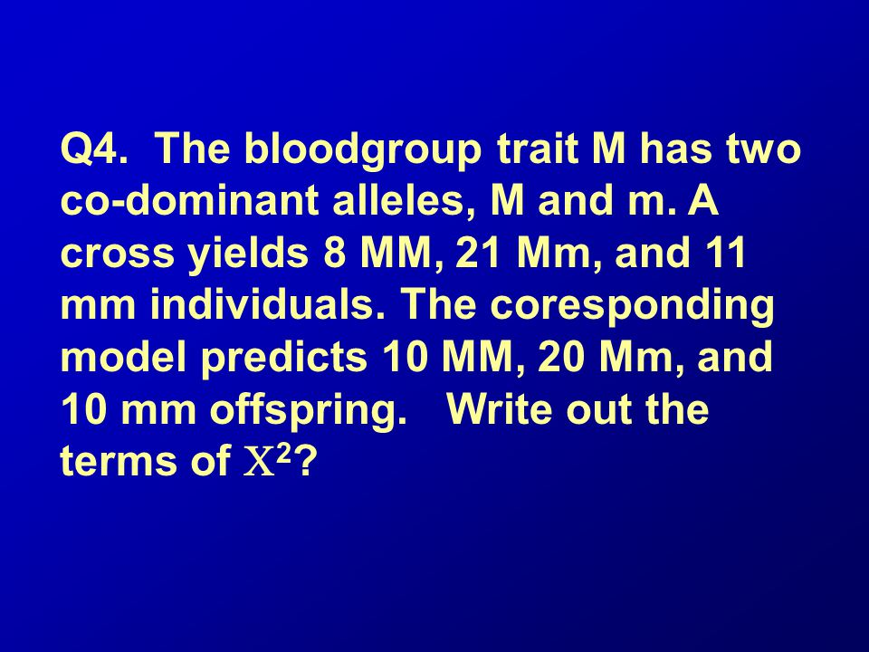 Q4. The bloodgroup trait M has two co-dominant alleles, M and m