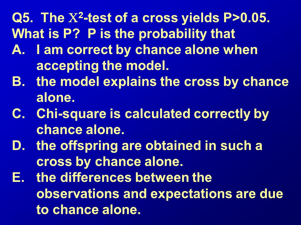 Q5. The C2-test of a cross yields P>0. 05. What is P