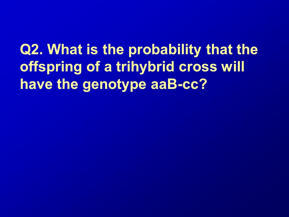 Q2. What is the probability that the offspring of a trihybrid cross will have the genotype aaB-cc
