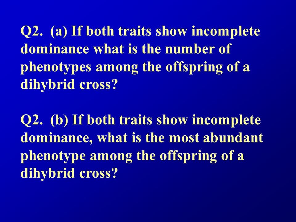 Q2. (a) If both traits show incomplete dominance what is the number of phenotypes among the offspring of a dihybrid cross