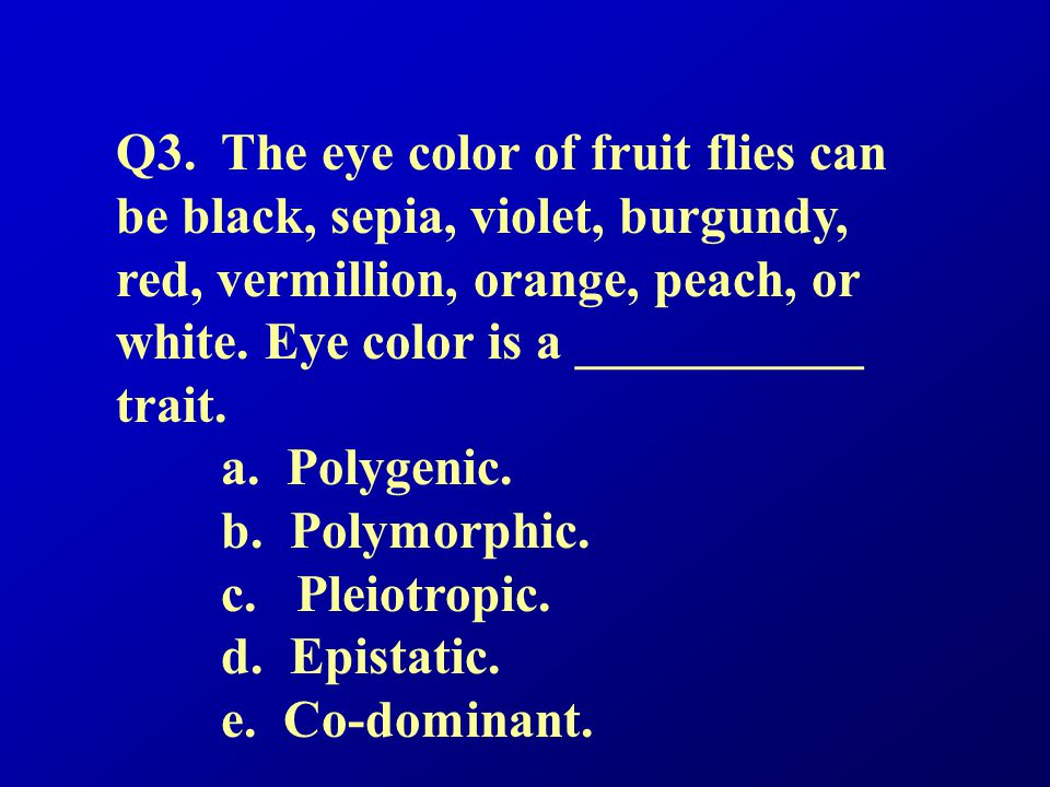 Q3. The eye color of fruit flies can be black, sepia, violet, burgundy, red, vermillion, orange, peach, or white. Eye color is a ___________ trait.