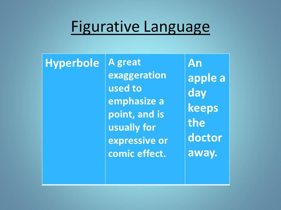 Figurative Language Hyperbole An apple a day keeps the doctor away.